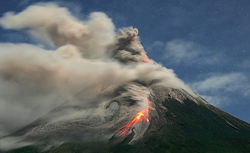 Group picture of Mount Merapi erupts